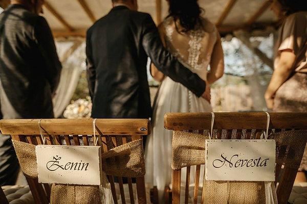 Poročna dekoracija, vitage poroke, napisa žein, nevesta za stola