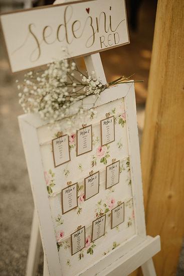 Sedežni red, poročna dekoracija, vintage poroke, romantične porke