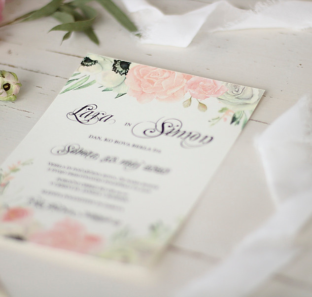 Cvetlično vabilo, roza belo, vrtnice in