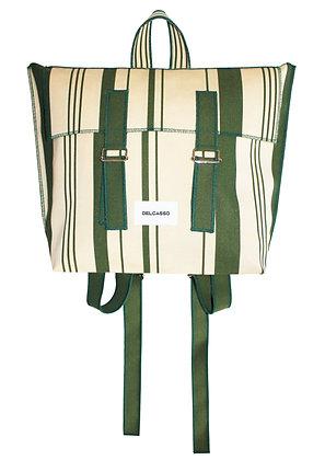 Delcasso - Sac à dos en toile de store vert et blanc