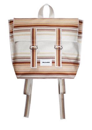 Delcasso - Sac à dos en toile de store marron et blanc
