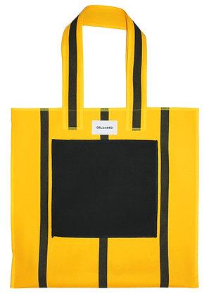 Delcasso - Grand sac en toile de store jaune et noir