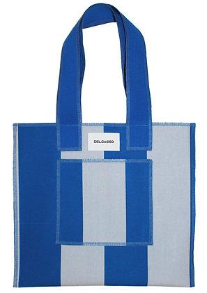 Delcasso - Sac en toile de store bleu et gris