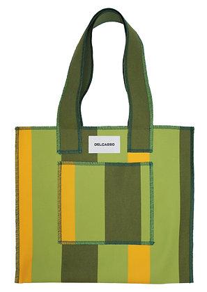 Delcasso - Sac en toile de store vert et jaune