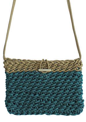 Delcasso sac en corde vert et or