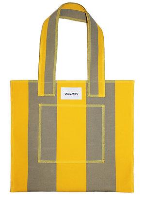 Delcasso - Sac en toile de store jaune et gris