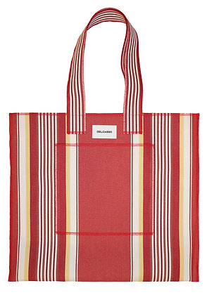 Delcasso - Grand sac en toile de store orange et jaune