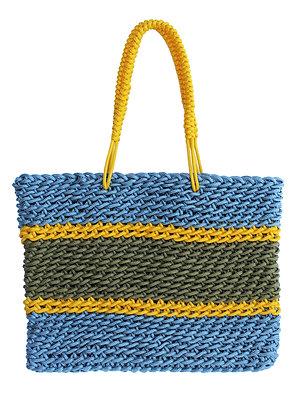 Delcasso sac en corde argent jaune et or