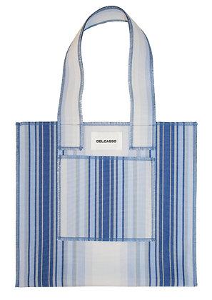 Delcasso - Sac en toile de store bleu et blanc