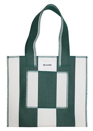 Delcasso - Sac en toile de store vert sapin et blanc