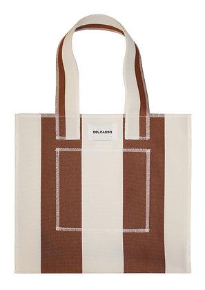 Delcasso - Sac en toile de store marron et blanc