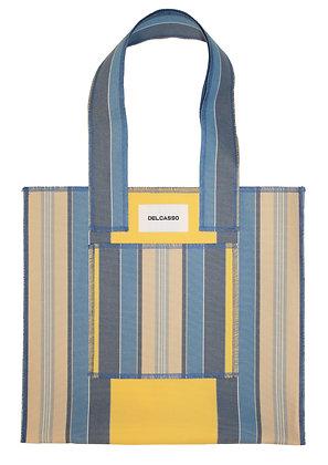 Delcasso - Sac en toile de store bleu et jaune