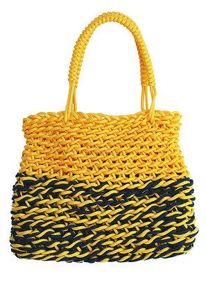 Delcasso sac en corde jaune et noir