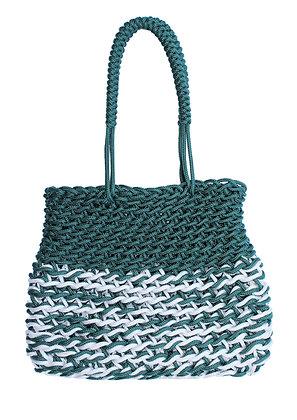 Delcasso sac en corde vert et blanc