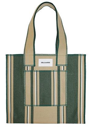 Delcasso - Sac en toile de store vert et marron