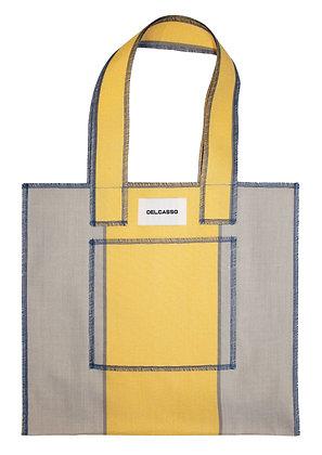 Delcasso - Sac en toile de store jaune et bleu