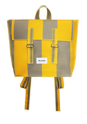 Delcasso - Sac à dos en toile de store jaune et gris