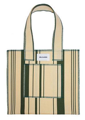 Delcasso - Sac en toile de store vert et beige