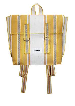 Delcasso - Sac à dos en toile de store jaune et blanc