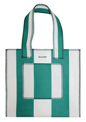 Delcasso - Sac en toile de store vert et blanc
