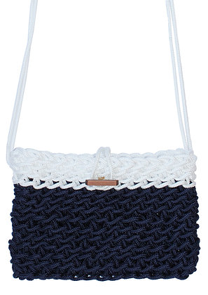 Delcasso sac en corde bleu et blanc