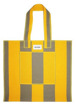 Delcasso - Grand sac en toile de store jaune et gris