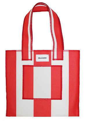 Delcasso - Sac en toile de store rouge et blanc