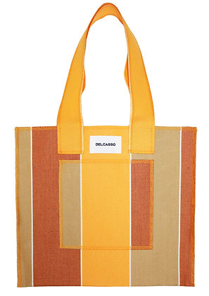 Delcasso - Sac en toile de store marron et jaune