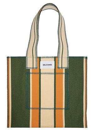 Delcasso - Sac en toile de store vert et orange