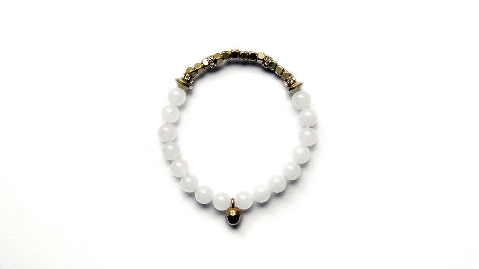 Lily White Nephrite Bracelet [百合白玉珠串]