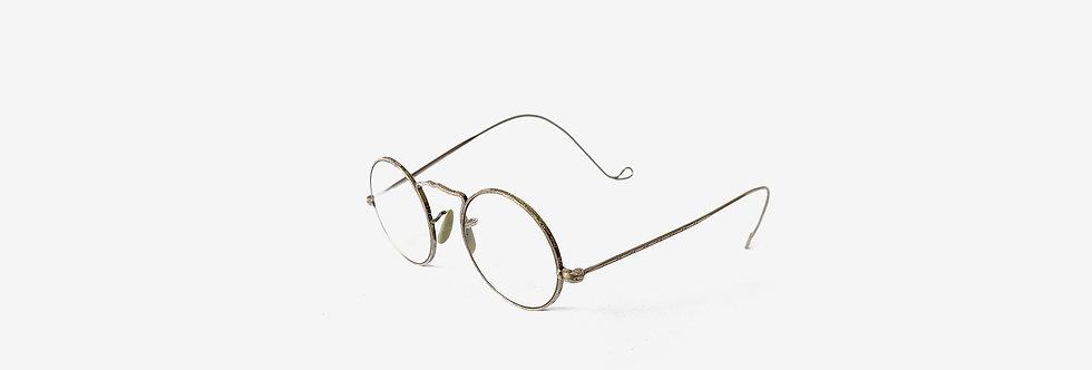 美國American Optical CORTLAND 雕花鍍金骨董眼鏡