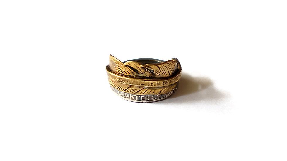 銅羽銀幣拼接戒指