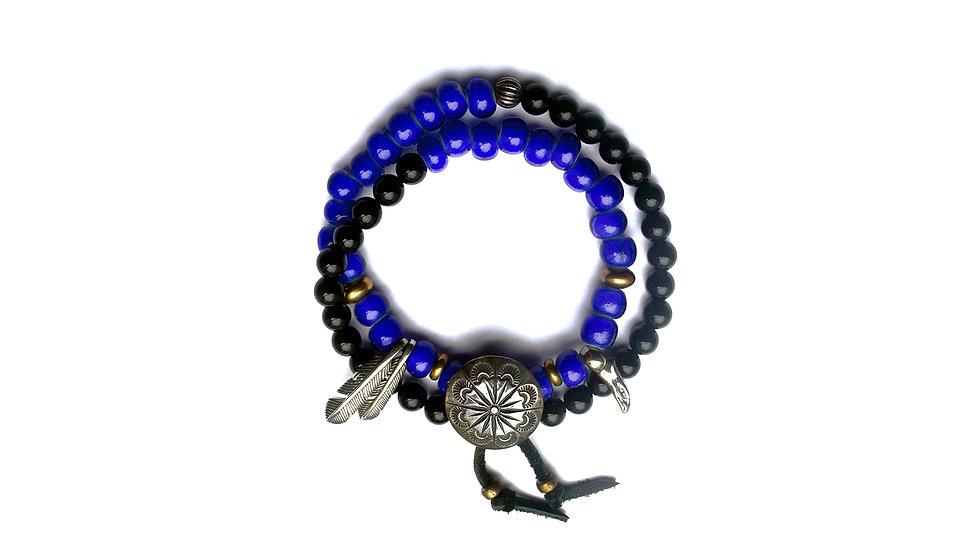 靛藍古董琉璃珠串