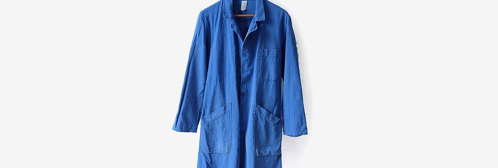 法國藍色工裝長版外套