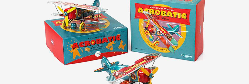 Saint John 鐵皮玩具 - 熊熊雜雙翼機