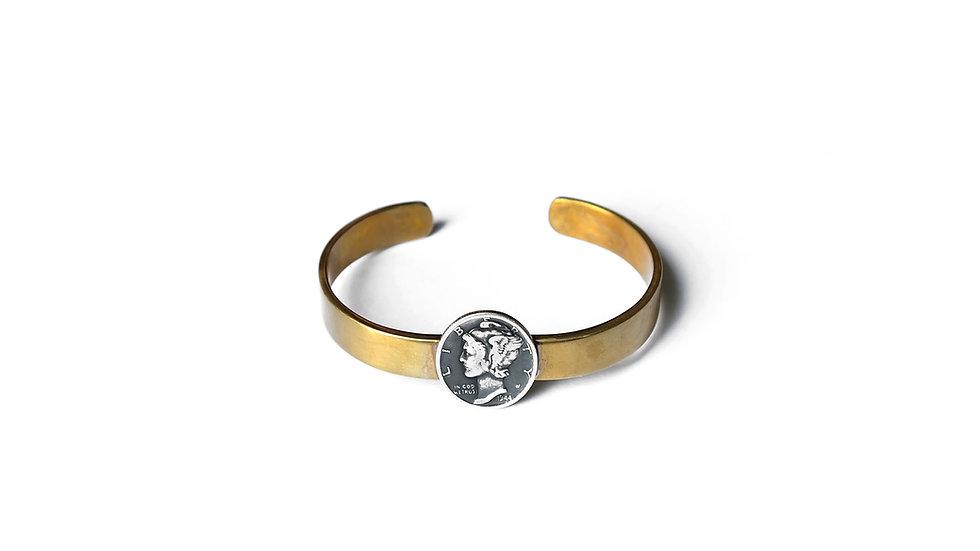 小飛人銀幣黃銅手鐲