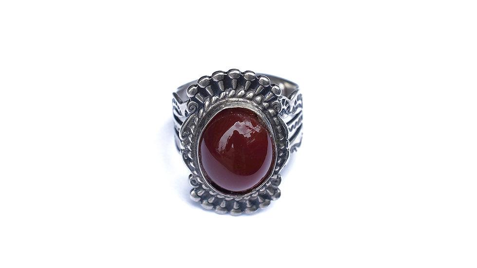 印第安紅瑪瑙純銀戒指