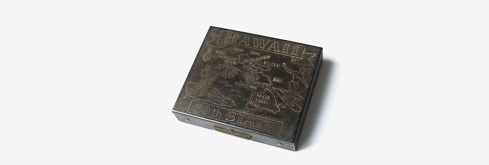 夏威夷地圖紀念黃銅鏡盒