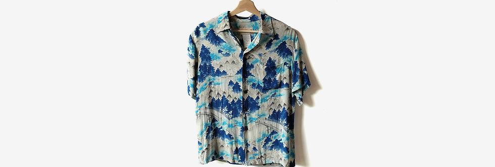 夏威夷製 IOLANI 人造絲襯衫