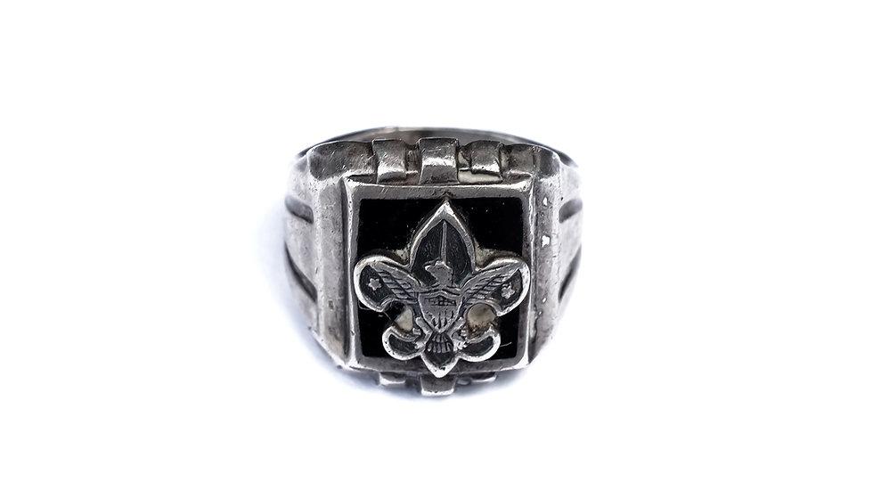 50's 美國童軍鳶尾花黑瑪瑙純銀戒指