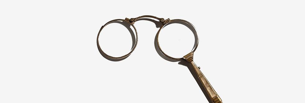 美國古董雕花折疊長柄眼鏡