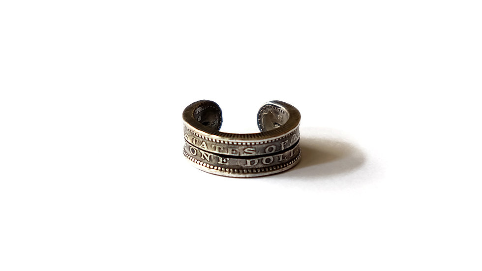 美國摩根銀元雙層戒指