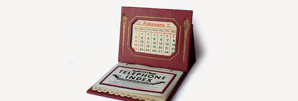 Ideal 美國紅色皮革換頁電話本日曆