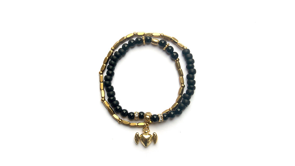 Angel Black Gold Bracelet [天使黑金珠串]
