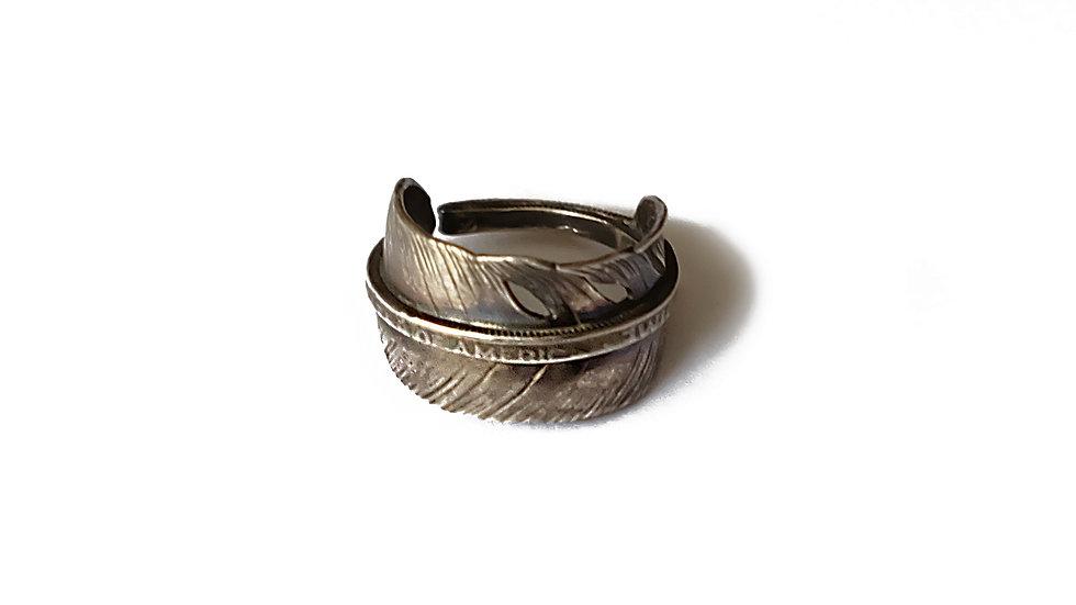信仰純銀羽毛併合戒指