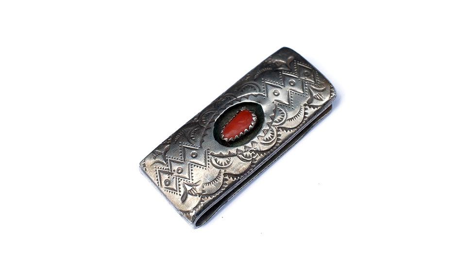 印第安圖案紅珊瑚純銀錢夾