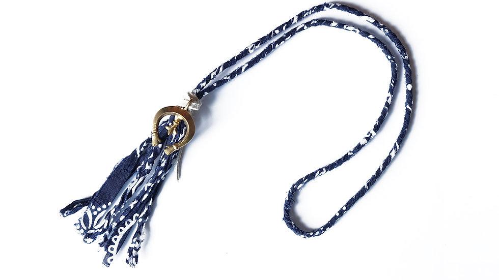 印染布編織月牙項鍊