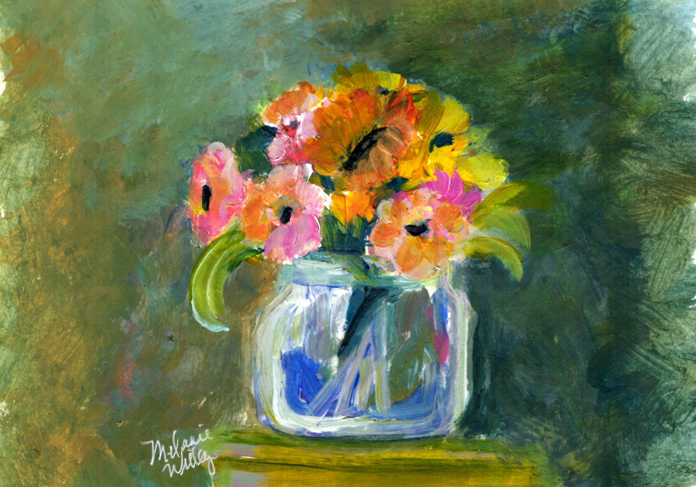 """Flowers in small blue vase"" - sold"