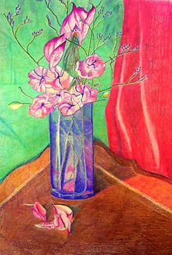 """""""blue glass with flowers"""""""