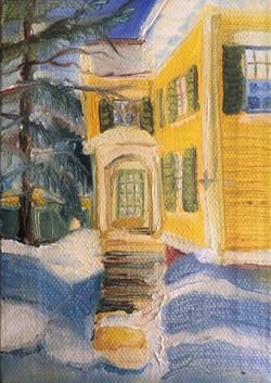 """Winter Yellow Home"" - Bath, Maine"